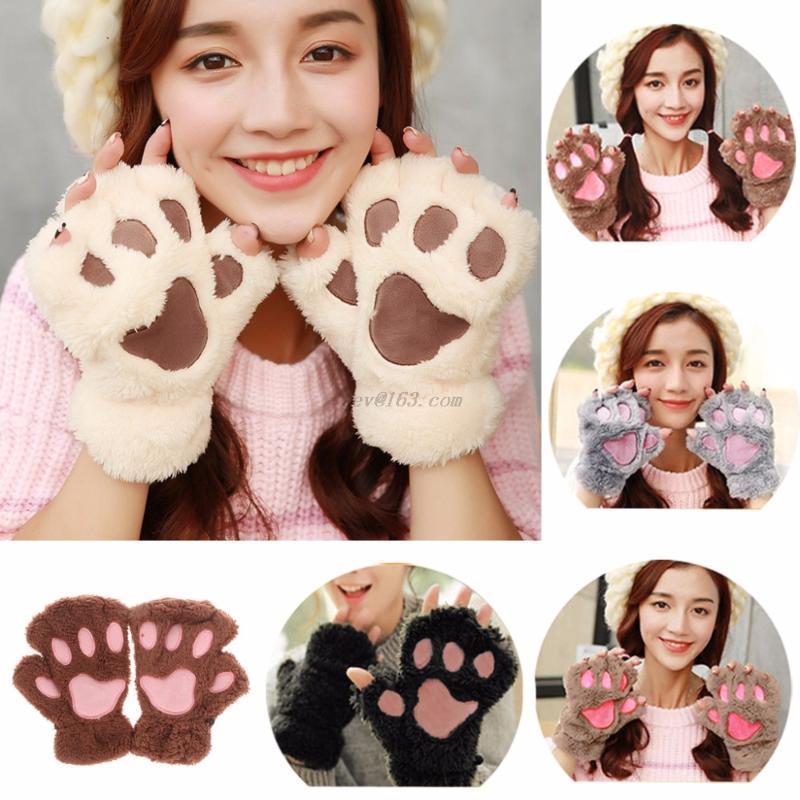 الشتاء النساء لطيف القط مخلب أفخم القفازات قصيرة أصابع نصف اصبع قفازات خمسة أصابع