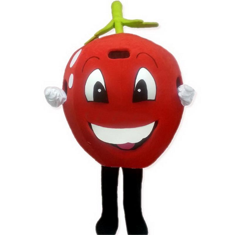 붉은 사랑 사과 체리 토마토 마스코트 의상 성인 만화 캐릭터 대형 크기의 결혼식 축하 ZX509