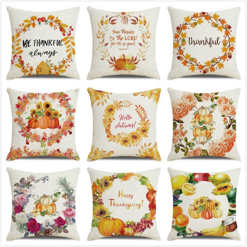 Cuscino / cuscino decorativo 45 cm * 45 cm acquerello foglie d'autunno foglie e zucche di zucche in lino di ghirlanda / cotoconde di cotone coperture cuscino copertura domestica decorazioni per la casa pillowc