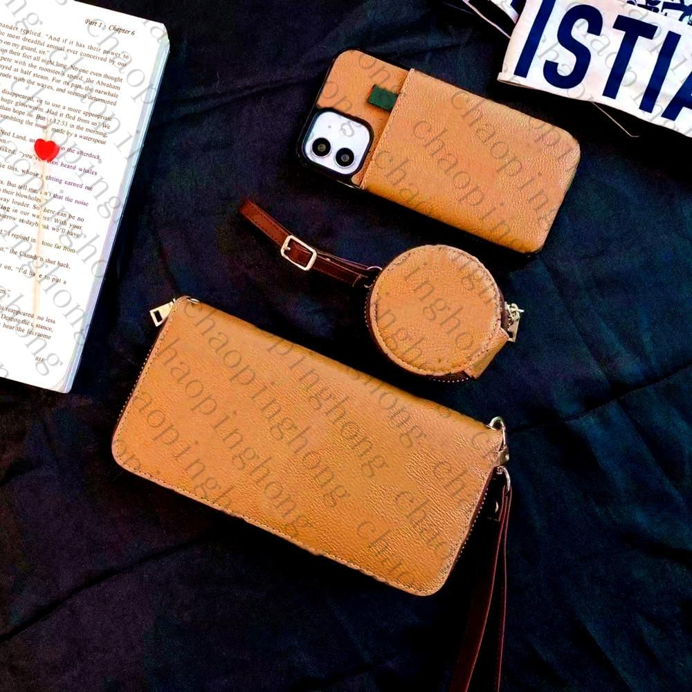 Lüks Cüzdan Kılıfı Kılıfı + Telefon Kılıfları + Para Çanta Evrensel Kulaklık Paketi Ile Mektup Baskı Ekose Marka Moda iPhone 12 11 Pro XS Max XR X Kapak
