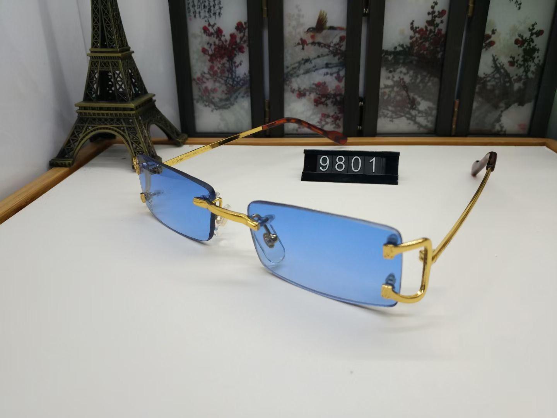 Occhiali da sole di lusso senza montatura delicata delicata delicata delicata delicata occhiali da sunglassisss in metallo c vetri C decorazione Designer di alta qualità UV400 Lente Occhiali da vista 16 Modello