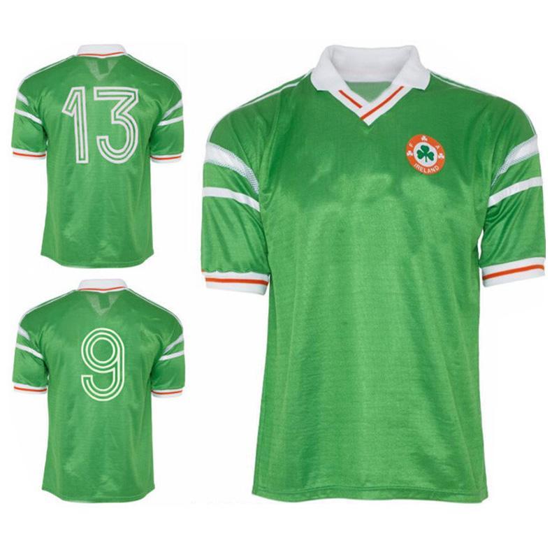 1988 1990 Retro Irlanda Soccer Jerseys Inicio Green 88 90 Irish Classic Vintage Aldridge Quinn Cascarino Houghton Jersey Camisa de Fútbol