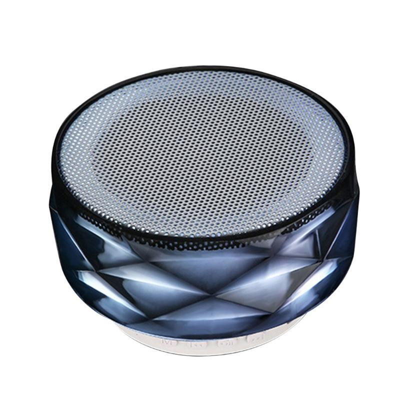 MP4 jogadores mini-falantes portáteis sem fio LED Cristal Diamond Stereo Subwoofer Áudio Colorido Light Light Player para casa ao ar livre