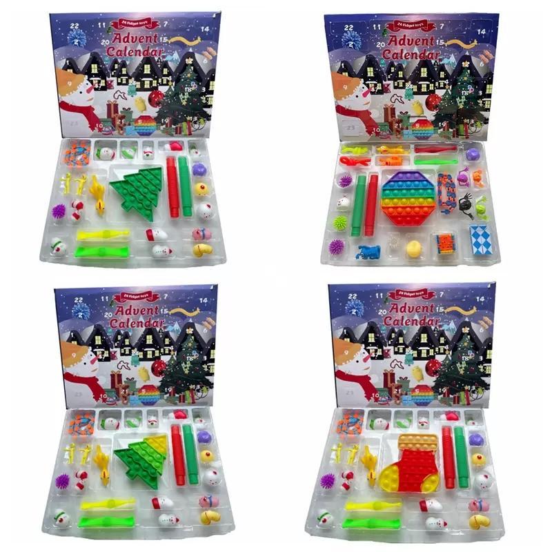 24pcs / Set Christmas Fidget Jouet Comport à rebours Xmas Calendrier Boîtes Blind Pack Sensory Calendriers de l'Avent Christma Box T0903