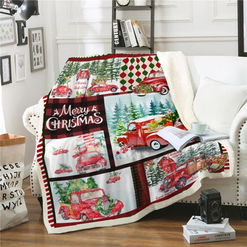 Warm Christmas Blanket Fir Tree Cartoon Sherpa Fleece Soft Winter Throw Blankets Xmas Plush Bedspread For Beds Sofa Travel Cover