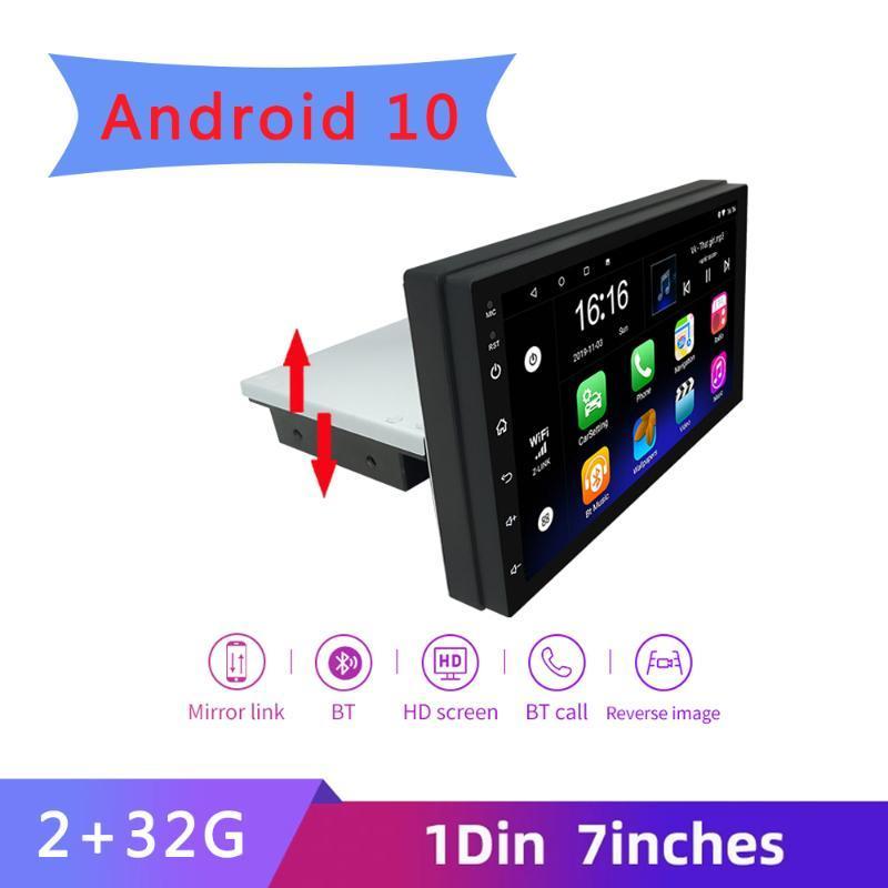 자동차 오디오 1 DIN 7 인치 안드로이드 10 라디오 연락처 화면 GPS 네비게이션 범용 조정 가능한 멀티미디어 비디오 플레이어