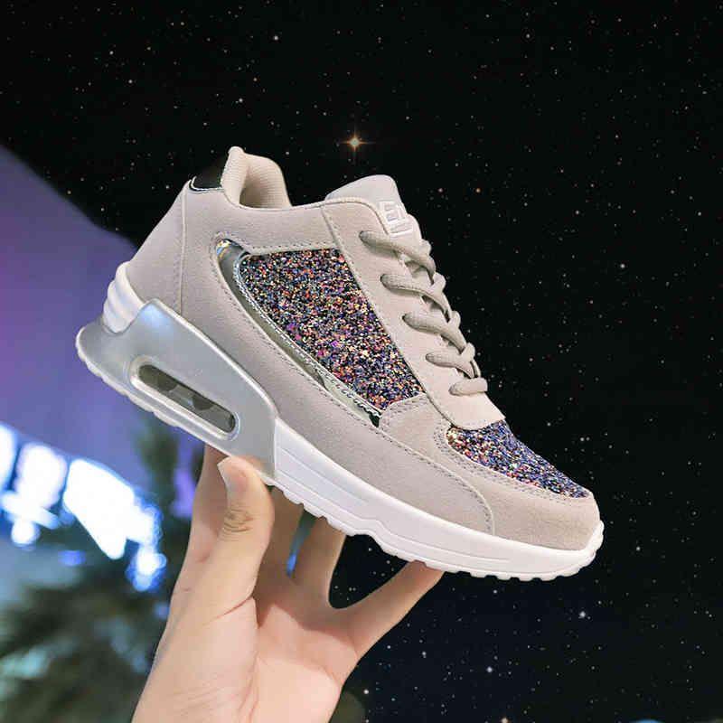 Sapatos casuais das mulheres outono vulcanização plana feminina bling mulheres plataforma de moda plus shoes 2020