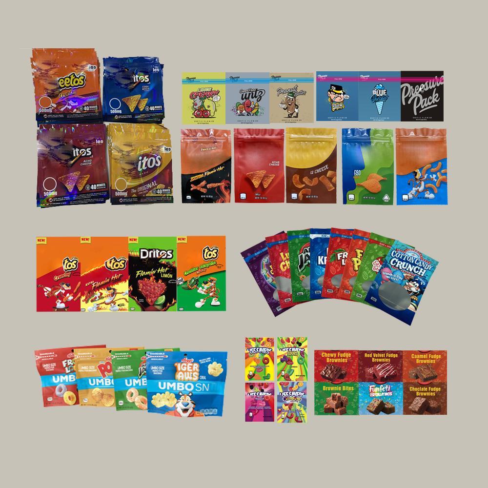 Kundenspezifische Chipps Essbare Mylar-Paket Saure Cookies Crawlers Tasche Verpackung für Originalkäse Gummi Riesche Beutel Taschen Reißverschluss Lock Myla Packages