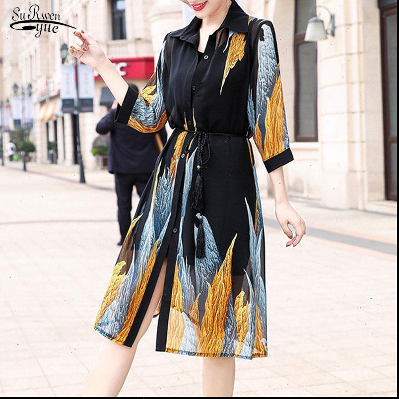 Yaz Güneş Kadın Gömlek Koruma Uzun Bluzlar Yarım Kollu Gevşek Baskı Bluz Gömlek Süper İnce Çiçek Şifon Hırka 9122 50