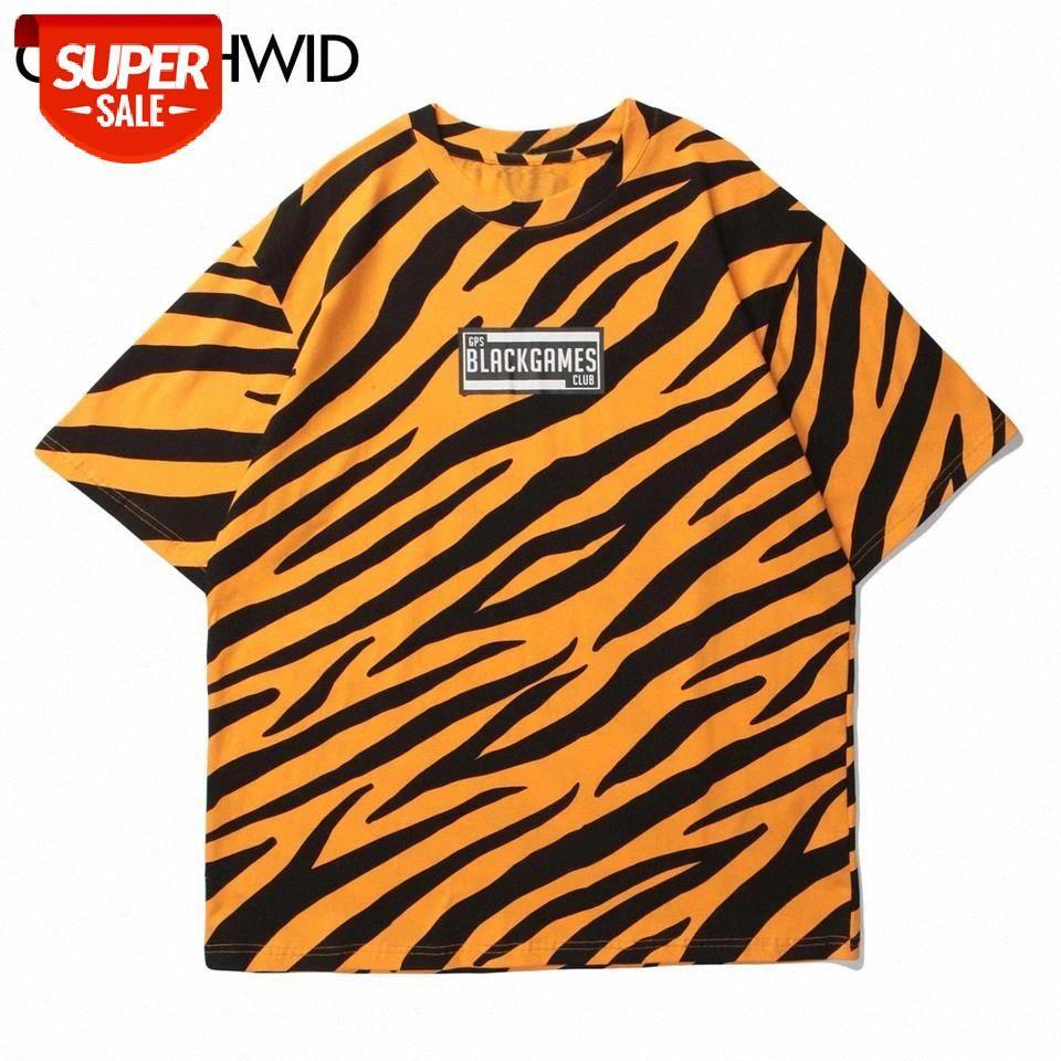 Camisetas Hip Hop Zebra patrón de rayas Impresión de manga corta Tshirts Moda Harajuku Casual algodón camiseta hombres sueltos tops # zf3p