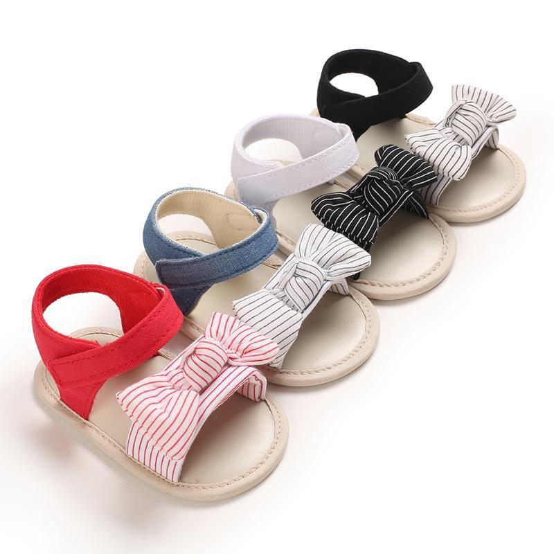 색상 유아 아기 소녀 소년 스트라이프 나비 샌들 소프트 솔 비 슬립 오픈 발가락 플랫 신발