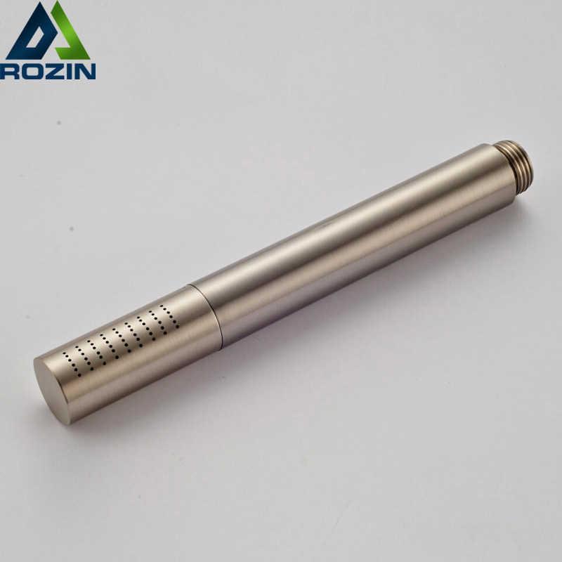 Cabeça de chuveiro redonda de aço inoxidável escovado níquel handheld chuveiro torneira cabeça de água 210724