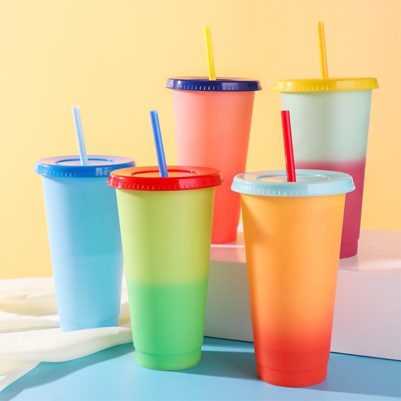 Mugs Magic Color Changing Straw Cup Thermochromic Plastic Water Drink Ware Discoloration Fashion Coffee Mug 710ml