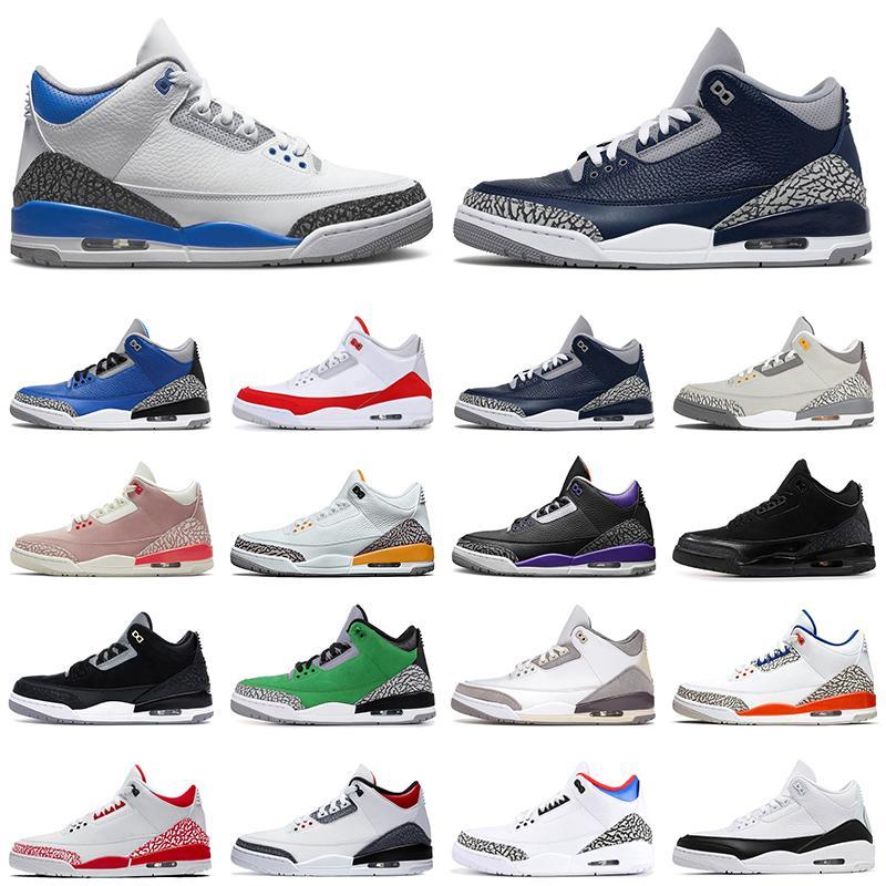 Air Jordan Retro 3 3s Men Baloncesto Zapatos de baloncesto Jumpman Racer Blue Black Cat Cement Fire Red Unc Tinker Green Knicks Rivals Entrenadores para hombre Deportes Zapatillas 7-13