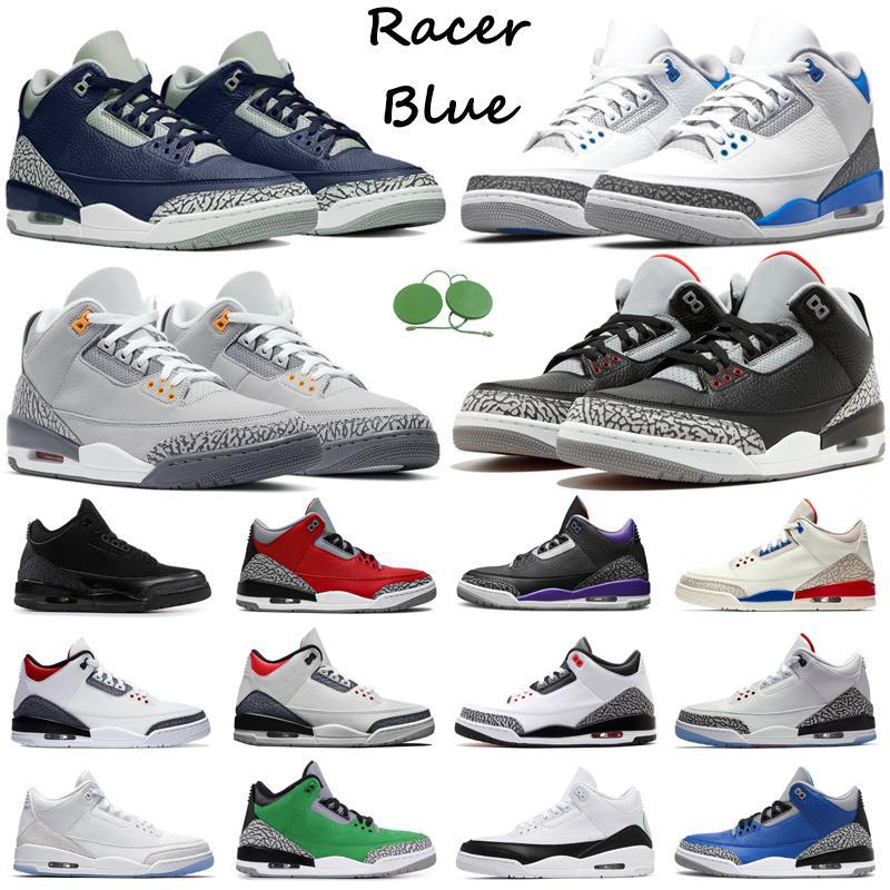 3S Jumpman Men Baloncesto Zapatos de baloncesto 3 Racer Blue UNC Midnight Navy Cemento Black Cat Varsity Royal Pure White Cool Grey Mens Trainers Zapatillas deportivas al aire libre