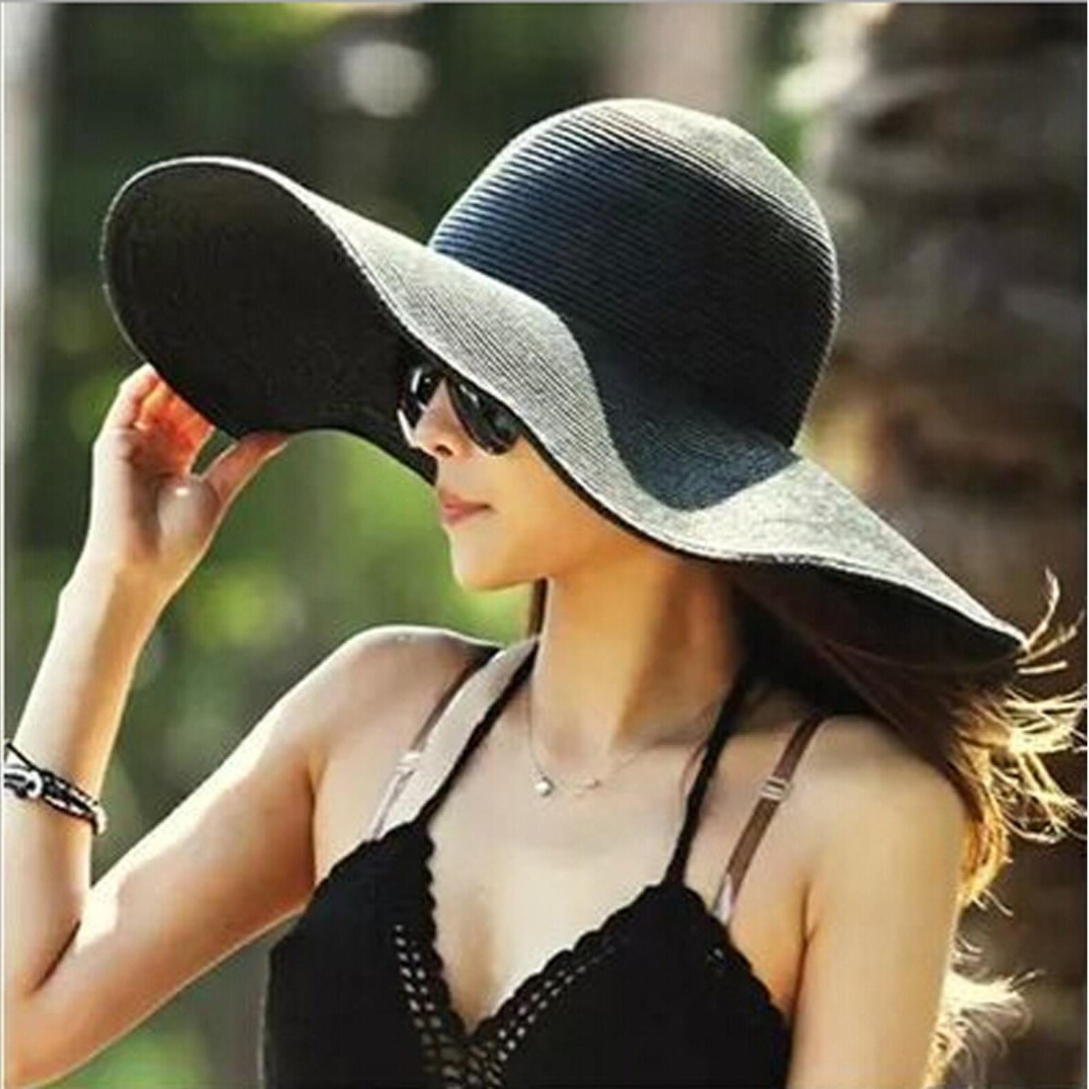 Chapeaux chapeaux, écharpes gants de mode aessories16 couleurs femmes large chapeau bordant chapeau floppy grand sunhat plage st chapeaux soleil dames extérieur pliable drogue