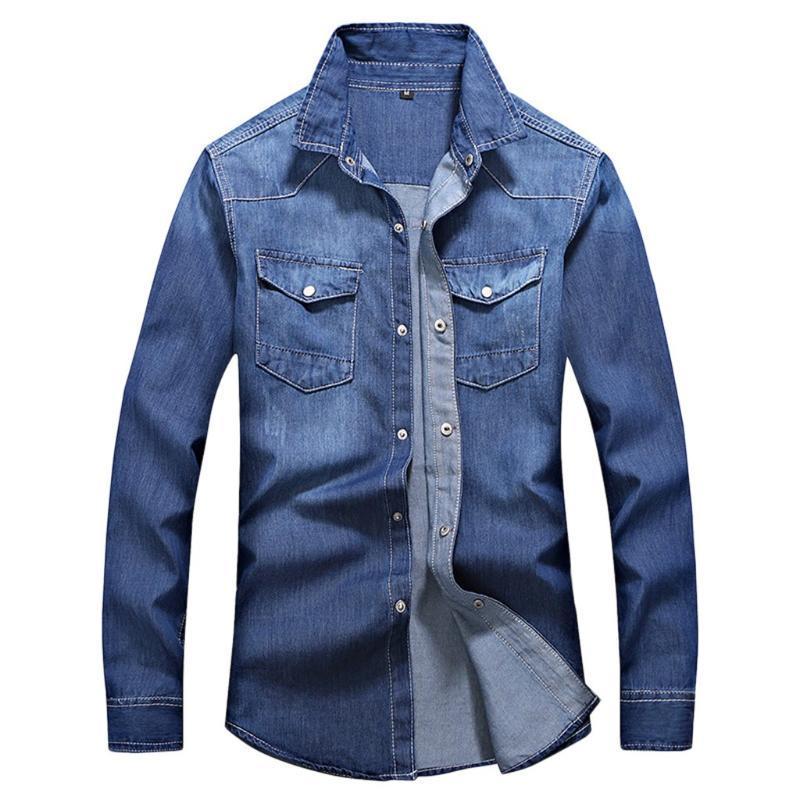 Feitong Streetwear Denim Gömlek Erkekler Moda Turn-down Yaka Rahat Uzun Kollu Sonbahar Kış Cepler Erkek Bluz Erkek Gömlek Tops