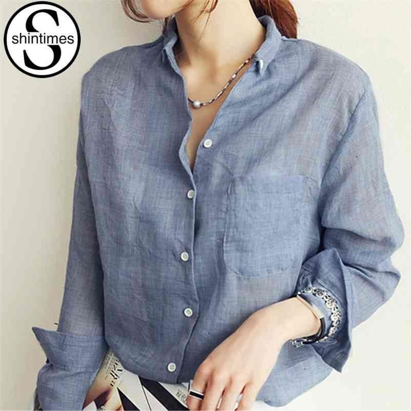 Kilitleri Beyaz Bluz Kadınlar Chemise Femme Ince Uzun Kollu Gömlek Yaz Bayanlar Bayan Giyim Dames Kleding Tops 210323