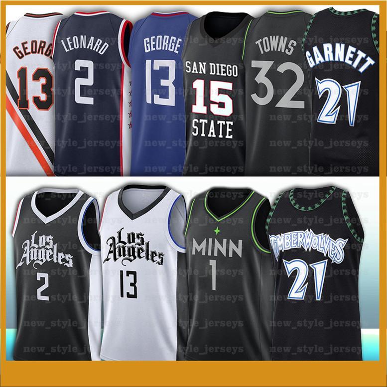 2 Kawhi 13 Paul Leonard Jersey L George Kevin A Anthony Garnett 1 Edwards Retro Basketball Jerseys