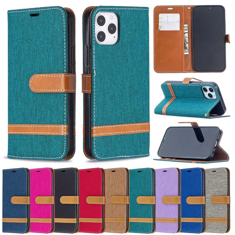 Denim Jeans Canvas Card Wallet Flip Leather Cover Case For iphone 12 11 Pro Max XS XR 8 7 6S Plus