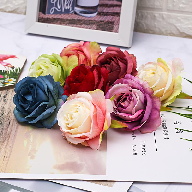 50/100pcs 6.5cm Artificial Sike Princess Rose Flower Heads For Home Wedding Decoration DIY Scrapbook Craft Supplies Fake Flowers 210317