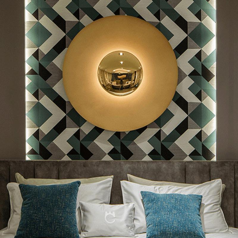 현대 철 아트 LED 벽 램프 라운드 거실 소파 배경 통로 현관 노르딕 크리 에이 티브 모양의기구
