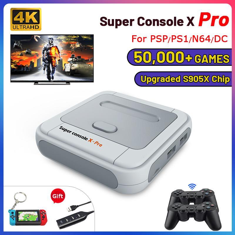 Retro WiFi Süper Konsol X PRO ile 50000 Oyunları ile 50000 Ile Telsiz Kontrolörleri 4 K HD TV Video Oyun Konsolları PSP / N64 / DC / PS 210317