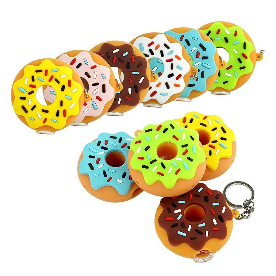 도넛 핸드 파이프 실리콘 흡연 파이프 오일 버너 열 저항 60mm 키 체인 및 유리 그릇