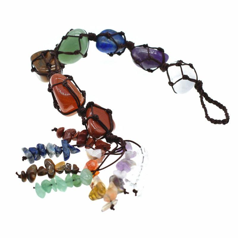 Natural Chakra Crystal Stone Car Pendant Tumbled Bracelet Tassel Hanging Ornament Stones