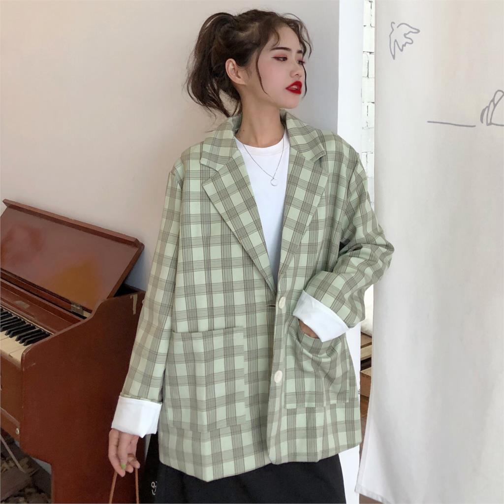 Vintage weibliche Herbst Blazer Frauenjacke Plaid Korean Mode Einreiher Blazer Lose Grün Greated Leads Outwears 210512