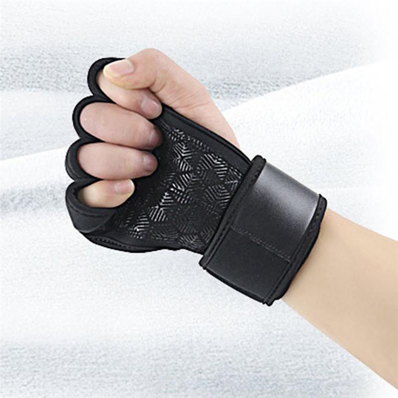미끄럼 방지 섬유 절반 손가락 스포츠 피트니스 손목 밴드 보호 덤벨 손목 지원이있는 풀업 그립