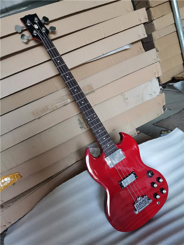 In stock 4 strings Transparent Red Electric Bass Guitar with Chrome hardware,Rosewood fingerboard,offer customize