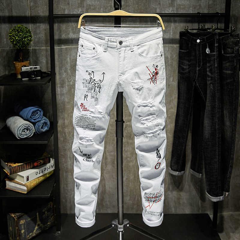Модные модные борумские буквы мужские джинсы колледжа мальчиков Нью-Йорк-взлетно-посадочные RITS DENIM BROEK разрушены разорванные черные белые джинсы