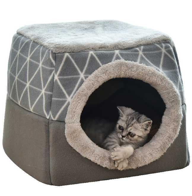 Cat Bed House Dog Pet Mat Deep Sleep Comfort Puppy Cushion Soft Blanket Long Plush Folding Indoor Beds & Furniture
