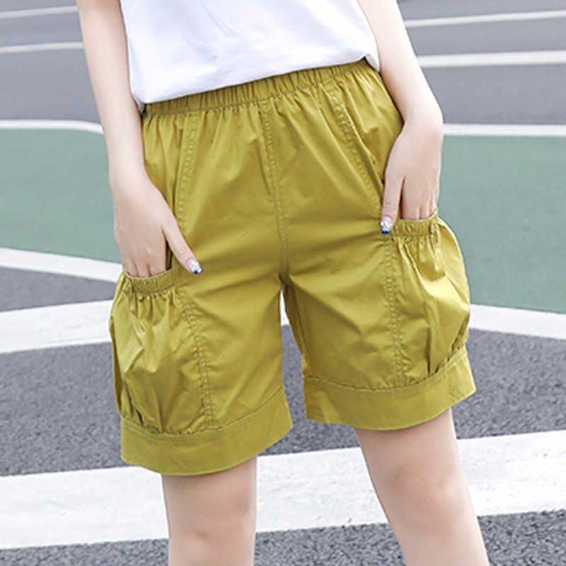 Damen Shorts Sommer Beiläufige Breite Bein Elastische Hohe Taille Süßigkeiten Farbe Frauen Baumwolle Plus Größe Lose Weibliche Bottoms Y132 Urgf