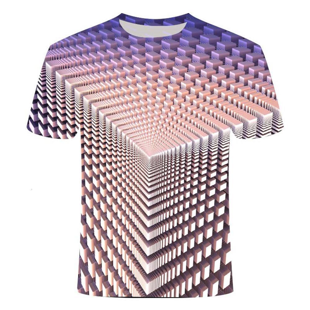 Mens Camisetas Verão Tridimensional Vortex T-shirt masculino 3D Impressão O-Collar Daily Casual Engraçado