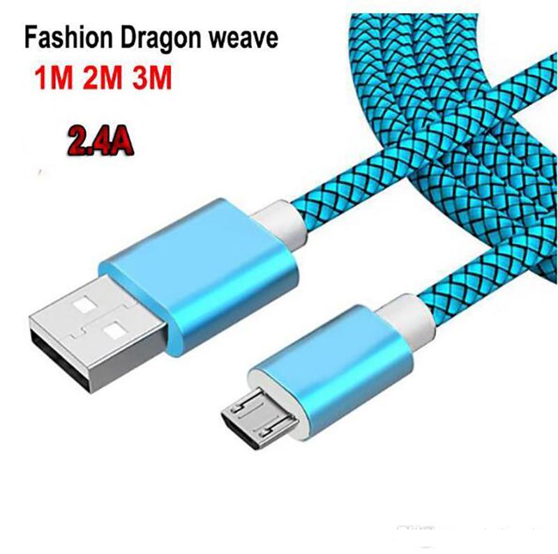 USB 케이블 1m 2m 3m 10ft 나일론 꼰 충전 코드 빠른 충전기 케이블 Huawei LG에 대 한 USB 데이터 케이블 10 11 Pro Max
