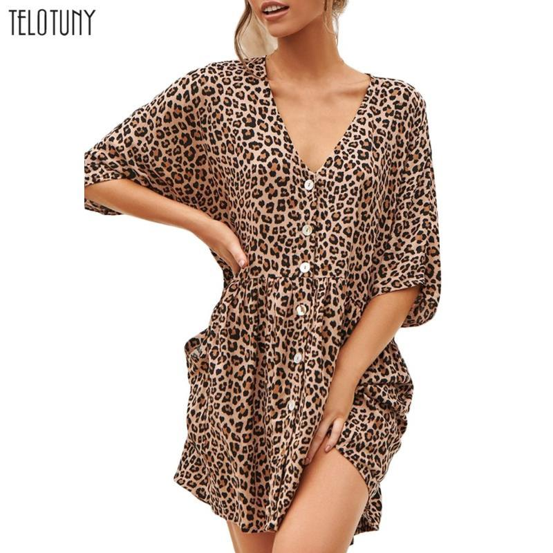 فساتين الأمومة telotuny الفهد اللباس 2021 المرأة خمر فتح لصق طباعة زر فضفاض عميق الخامس الرقبة حزب vestidos S-5XL