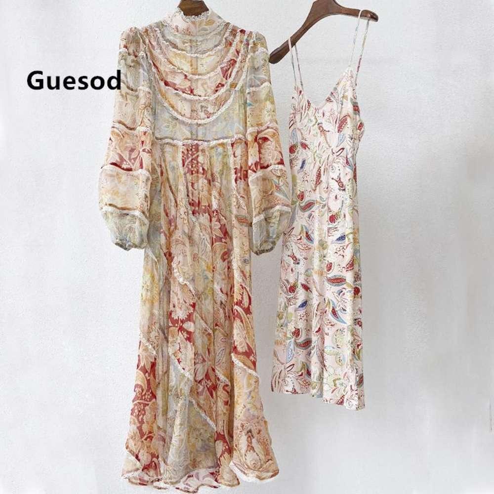Femmes Soie Longue Robe longue 2021 Automne Femelle Soie Dentelle Maxi Robe Lanterne Sleeve Deux pièces Robes Robes Guesod