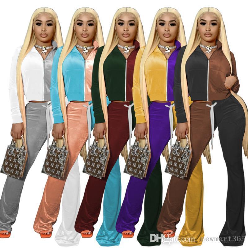 여성 Tracksuits 벨벳 복장 두 조각 세트 디자이너 명암 색 긴 소매 까마귀 지퍼 자켓 벨 바닥 바지 벨벳 sportwear