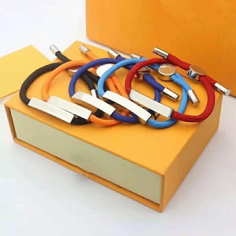 للجنسين مصمم الأزياء سوار الفاخرة جودة عالية حبل حقيبة قفل قلادة مجوهرات هدية الملحقات 5 ألوان العرض