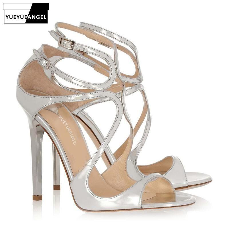 Sommer Gladiator Schuhe Frau Patent Leder dünne High Heels Schnalle Elegante Damen Sandalen Sexy Knöchelriemen Büro Pumpen Pumps