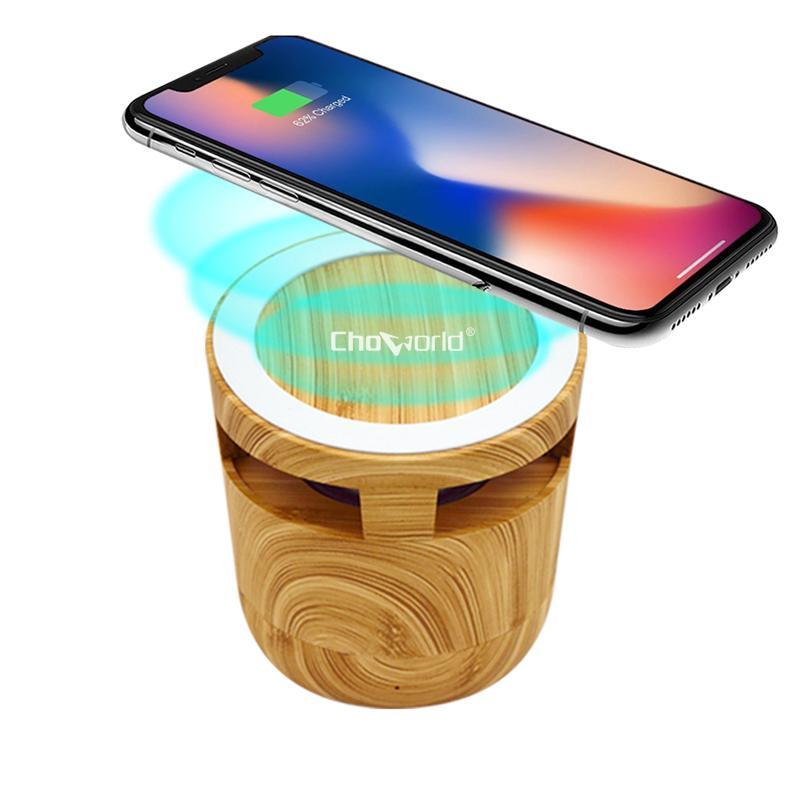 Choworld Mini 2 en 1 Haut-parleur Bluetooth de Cask Bluetooth avec téléphone mobile Chargement sans fil en plein air Rétro Décoration Smart Cadeau Smart
