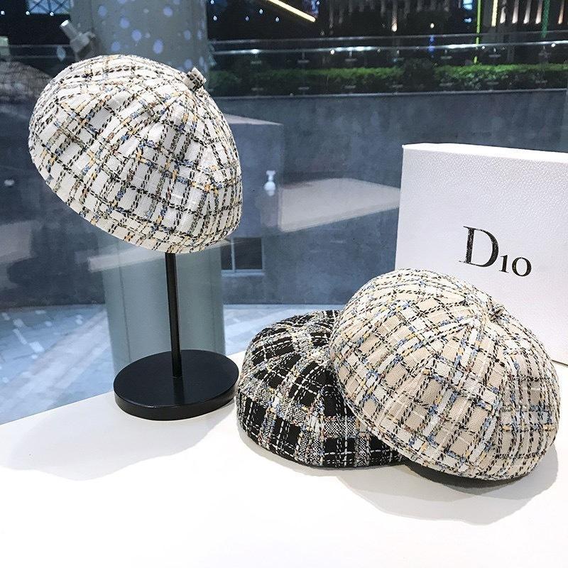 02CO 2021 Новая Мода Маленький ароматный образец Берета Женская Британская восьмиугольная шляпа Корейский универсальный ткацкий бутон