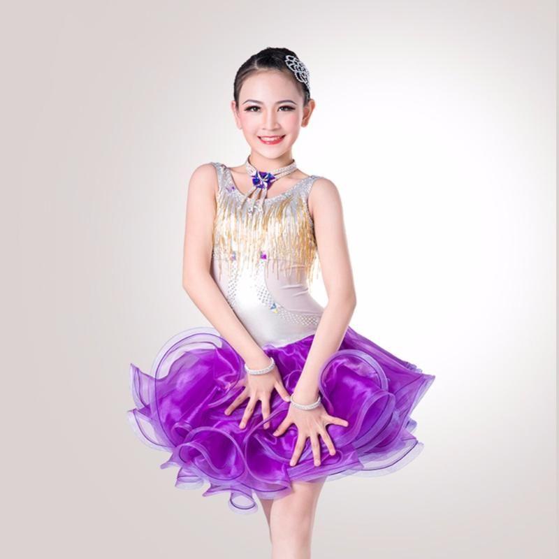 Menina Latin Dance Dress 4 Cor Preto / Branco Feminino Top Qualidade Top Lace Feminino Arena Apresentação Moda DQ2042 Estágio Desgaste