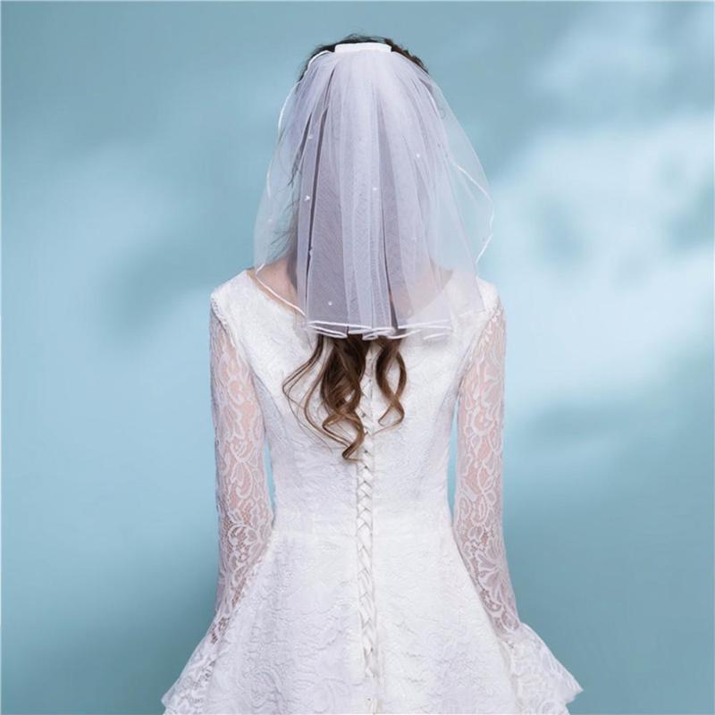Gelin Veils Basit Kısa Tül Düğün Tarak Ile Bir Katmanlı Tarak Beyaz Fildişi Peçe Gelin Aksesuarları için