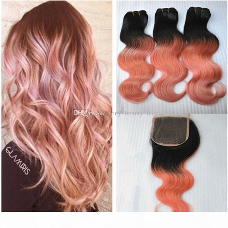 Peruano 1b Rose-Gold Ombre Wave Wave Virgin Haave Weave con 4 * 4 Cierre