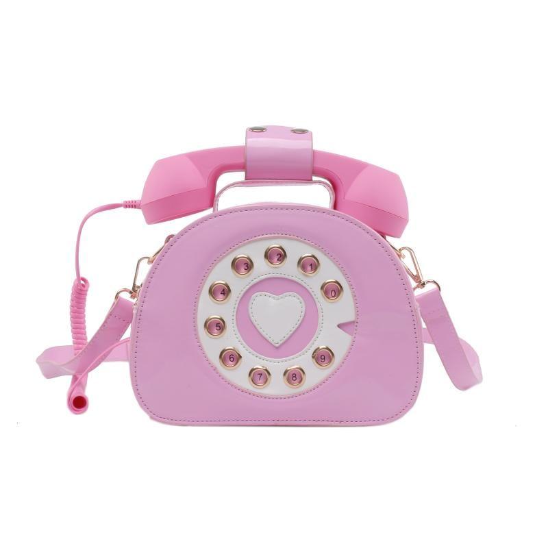 여성 전화 모양의 핸드백 및 지갑 레트로 전화 탑 핸들 어깨 가방 크로스 바디 소녀