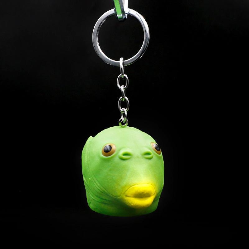 Причудливый русалка брелок силиконовые креативные юмор рыбы голова виноват маска рюкзак автомобиль ключевых аксессуаров подвеска шарм брелок подарок брелок
