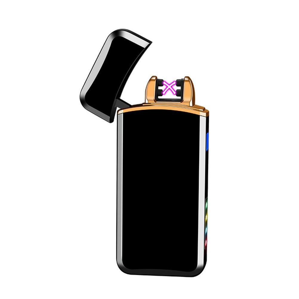 Светодиодный гаджет двойной дуги электронные ветрозащитные беспламенные зарядки USB зарядки с светодиодами для курения прикуристы для курения.